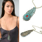 Ethnic Rhinestone Peacock Feather Necklace BOHO Beads Turquoise Tail Long Chain