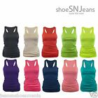 USA New Basic Cotton Top Racer Back Ribbed Solid Tank Cami Tee S M L 1XL 2XL 3XL