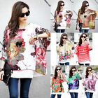 Women Loose Batwing Sleeve Boho Floral Print Oversize Chiffon T Shirt Top Blouse