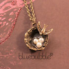 FUNKY VINTAGE STYLE SWALLOW BIRDS NEST NECKLACE FAUX PEARL CUTE BOHO CHIC KITSCH