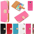 MAGNETIC DIAMOND WALLET LEATHER FLIP CASE COVER FOR SAMSUNG GALAXY S2 S3 S4 S5