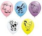 """Pack of 5 FARM ANIMALS (Choice of Animal) 11"""" Party Balloons - Qualatex"""