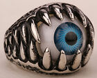 Mens stainless steel blue evil eye eyeball ring SR05 JEWELRY;Size 8-14