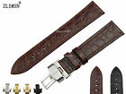 12mm OR 14mm NEW THIN BLACK OR BROWN CROCODILE GRAIN GENUINE LEATHER Watch Bands