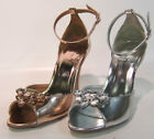 L3418- Ladies Heeled Sandals- Jewel Detail 2 Colours- Rose Gold&Silver.