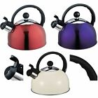 2.5 LITRE STAINLESS STEEL WHISTLING KETTLE GAS & HOBS 2.5L BOIL WATER