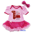 NEW Baby Pink Peppa Pig Number 1 Birthday Party Dress Romper Bodysuit Pettiskirt