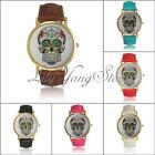 Hot Fashion Women Sugar Skull Dial Pu Leather Strap Bracelet Quartz Wrist Watch