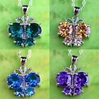 Romantic Amethyst Morganite Blue &Green Topaz Gemstone Silver Pendant Necklace