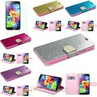 Glitter bling Diamond Leather Wallet Case+Guard For Samsung Galaxy S5 i9600