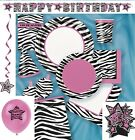 ZEBRA PASSION BIRTHDAY PARTY ITEMS (Animal Print Girls) Tableware & Decorations
