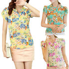 Women Casual Short Sleeve Chiffon Blouse Stand Collar Floral Print Tops