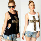 Womens Sleeveless Leopard Cross Print Vest T Shirt Tank Stretch Hollow Out Tops
