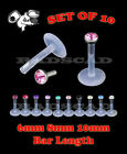 10 x LOT 6mm 8mm 10mm LABRET PIERCING 16G BAR LIP RING STUD CLEAR FLEXIBLE L37