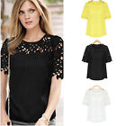 Korean Women Ladies Hollow Out Solid Short Sleeve Lace Shirt Chiffon Blouse Tops