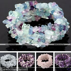 Natural Crystal Quartz Gemstone Chip Bead Handknitted Stretchy Bracelet Cuff 7""