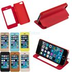 View Full Window PU Leather Folio Flip Case Cover For iPhone 5 5S w/ Stand - New