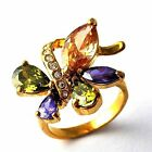 Artistic Multi-color CZ Womens Ring Yellow Gold Filled Size 7,8,9# D1361-D1363