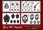 ACE OF SPADES black X6 TATTOOS temporary  waterproof  tattoo 1WEEK+ goth gangsta
