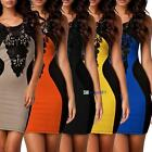 Sexy Ladies Lace Sleeveless Slim Fashion Bodycon Party Cocktail Evening Dress