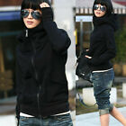 Women High Tie Outerwear Hoodies Sweatshirt Coat Casual Zipper Hooded Jacket Hot
