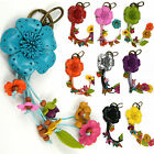 """Handmade"" Leather Flower Keychain Bag Charm Key Ring Rose Floral bga1"
