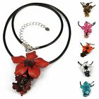 """""""Handmade"""" Leather Flower Necklace Pendant Charm 18"""" Stainless Steel Chain fda1"""