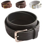 British Full Leather Patterned Belt - Black, Tan, Brown, White