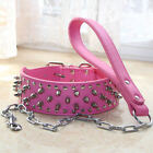 Hot Pink Spiked Studded PU Leather Pet Dog Collars Chain Leash PitBull S M L XL