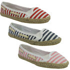 NEW GIRLS KIDS SLIP ON PUMPS ESPADRILLES CASUAL STRIPE FLATS SHOES CANVAS