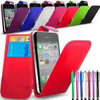 Apple iPhone 4s/4g - PU Leather Flip Case Cover + Big Stylus & Screen Protector