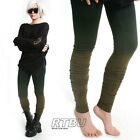 Mega Long Slouch Gathered Ruched Punk Dip Dye Green Ombre Cotton Legging Tights