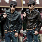 Men Cool Tops Designed Synthetic Leather Short Biker Jackets Coats US New Style