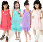 JR Lllusion Lace Bow Chiffon Girl Dress Handmade Flower Korean Party Skirt AU 4