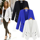 Womens OL Lapel Long Sleeve Solid Blazer Suit Casual Tunic Cardigan Jacket Coat