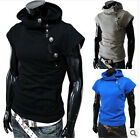 Summer cool design Hoodie Men Cotton blend Short sleeve Cosplay button Tee shirt