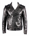 BRANDO SLIM FIT' Men's BLACK Designer Fitted Real Lambskin Leather Biker Jacket