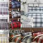 Argyle Tartan Check & Reverse Pin Stripe Duvet Quilt Cover Bedding + Pillowcases