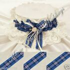 WEDDING ACCESSORIES BRIDAL HAND MADE LACE GARTER WITH SCOTTISH TARTAN RIBBON