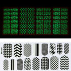 Nail Art Clear Fluorescence Print Pattern Design Strip Stickers Decals Tips Set