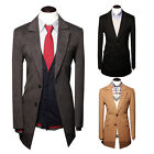 Men's Solid Color Lapel Trench Coats Two Buttons Business Casual Woolen Jackets