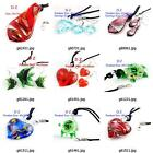g814q54 Women's Pretty Bead Lampwork Glass Murano Pendant Necklace Earrings set
