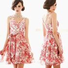 Double Spaghetti Straps Womens Flower Mini Dress Tea Dress Self-tie Bowknot 6768