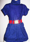 GIRLS INDIGO PURPLE WINTER LACE KNIT PARTY DRESS with BELT