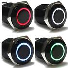 12V Black Aluminum Metal Switch LED Push Button Latching Momentary Car 16mm UK
