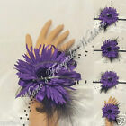 WEDDING FLOWERS/PROM TIE-ON WRIST CORSAGE SILK GERBERA/FEATHER ASSORTED COLOUR