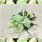 WEDDING FLOWERS/PROM PIN-ON LADIES CORSAGE FOAM TRIPLE ROSES MINT GREEN & IVORY