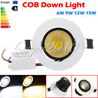 Dimmable 6W 9W 12W 15W COB LED Downlight Recessed Ceiling Spot Light Bulb Lamp