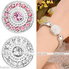 Womens Crystal Bead Studded Snap On Chunk Button Fit Bracelet DIY Fashion Gift