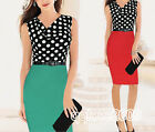 Women New Draped Neck Colorblock Fitted Wear to Work Party Bodycon Dress w/ belt